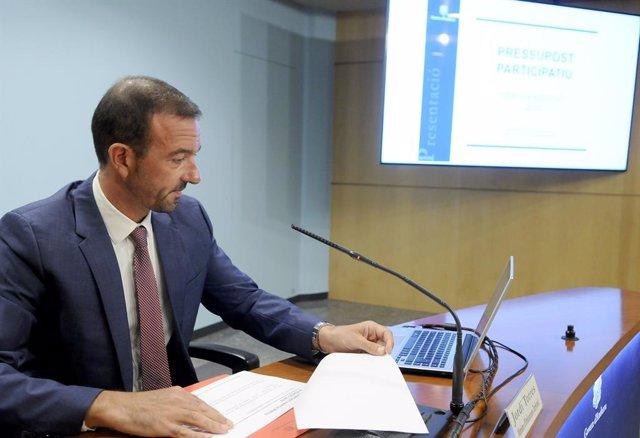 El ministre Jordi Torres durant la presentació de la tercera edició dels pressupostos participatius que ha fet aquest matí