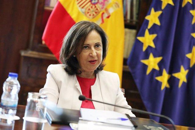 La ministra de Defensa en funciones, Margarita Robles, durante la recepción a los Jefes de las misiones internacionales en las que participa España.