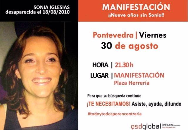 Convocada una nueva manifestación este viernes en Pontevedra tras cumplirse 9 años de la desaparición de Sonia Iglesias.