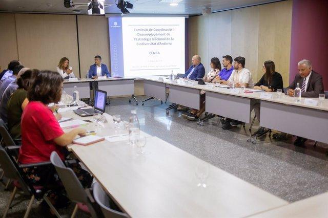 Sílvia Calvó I Marc Rossell Presidint La Primera Reunió De la Comissió De Coordinació I Desenvolupament De l'Estratègia Nacional De la Biodiversitat D'Andorra