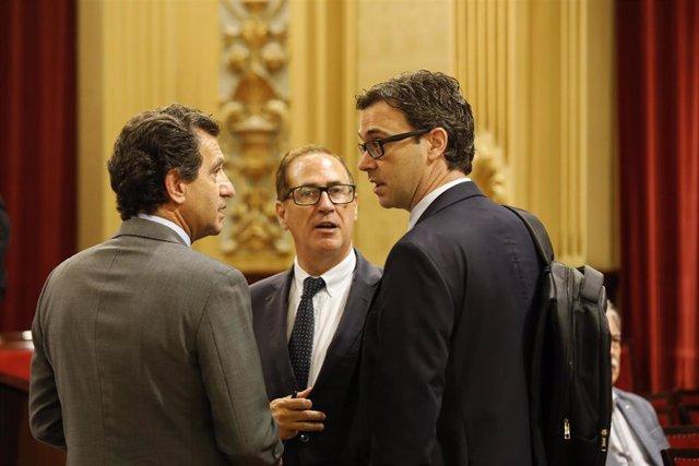 El portavoz adjunto del PP en el Parlament de Baleares, Toni Costa (derecha), conversa con el portavoz del PP, Biel Company, en la sala de plenos del Parlament.