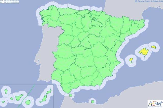 Alerta amarilla por riesgo de lluvias y tormentas en Baleares