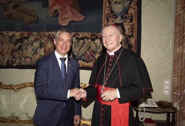 Iñigo Urkullu y el secretario de Estado, el Cardenal Pietro Parolin.