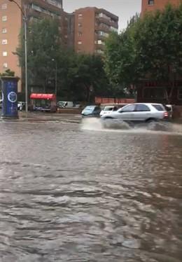 Imagen de las inundaciones en la localidad madrileña de Fuenlabrada tras la fuerte tormenta del pasado 26 de agosto de 2019.