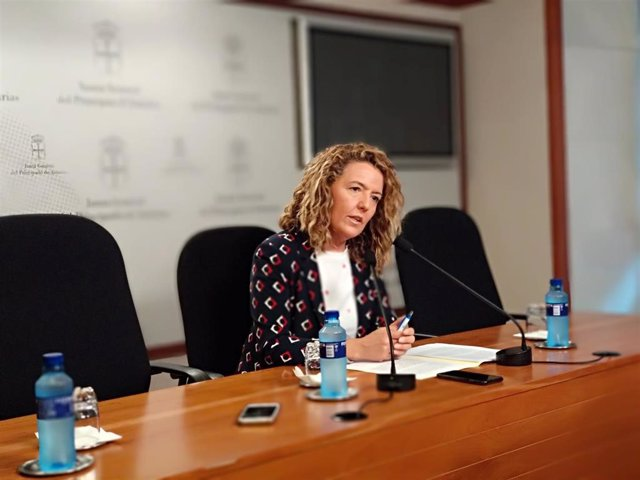 La portavoz del PP en la Junta General, Teresa Mallada, en rueda de prensa.