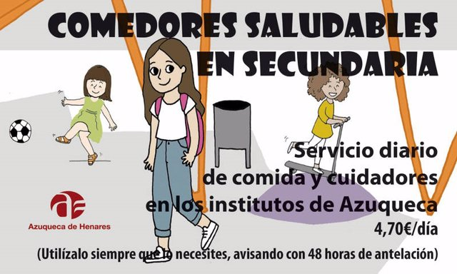 Ayuntamiento de Azuqueca ofrecerá durante el curso el servicio de comedor en los institutos de la ciudad