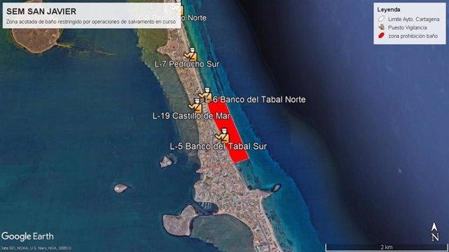 Infografía de la zona de la playa cerrada al baño, en La Manga