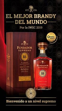 """La International Wine & Spirit Competition 2019 galardona a """"Fundador Supremo 18 Oloroso Sherry Cask"""" como el Mejor Brandy del Mundo"""