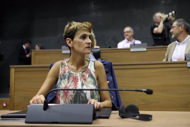 La secretaria general del PSN y candidata del partido a la Presidencia de Navarra, María Chivite, durante la segunda votación para la investidura de la candidata del Partido Socialista Navarro a la Presidencia del Gobierno de Navarra en el Parlamento fora