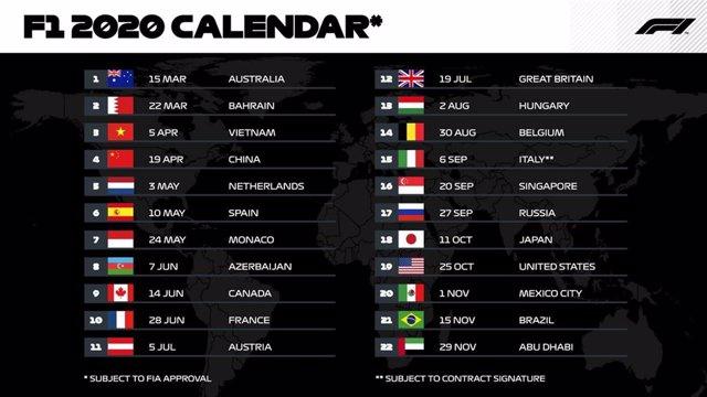 Calendario de la F1 para 2020