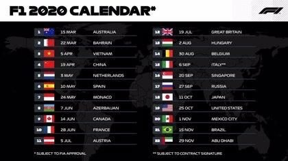 El próximo Mundial de F1 tendrá la cifra récord de 22 carreras