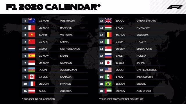 Fórmula 1.- El Mundial 2020 tendrá la cifra récord de 22 carreras tras la incorp