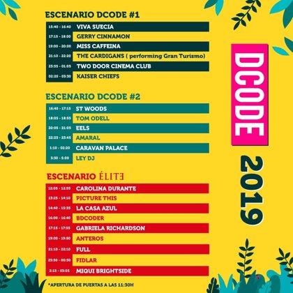 Horarios del DCode Festival 2019