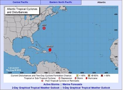 La tormenta tropical 'Dorian' podría convertirse mañana en huracán y afectará a Bahamas y el este de EEUU
