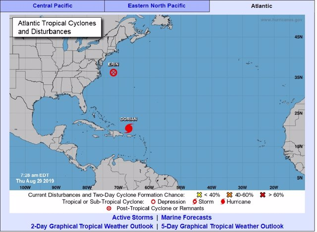La tormenta tropical 'Dorian' podría convertirse mañana en huracán y afectará a