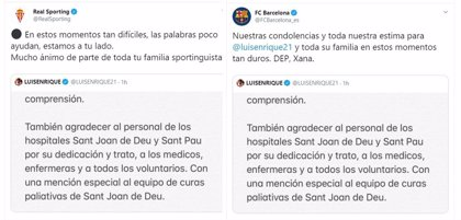 Fútbol.- Barça, Sporting y todo el fútbol español envían sus condolencias a Luis Enrique por la muerte de su hija