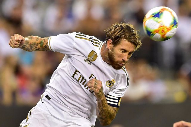 El jugador del Real Madrid Sergio Ramos en el derbi contra el Atlético de la International Champions Cup