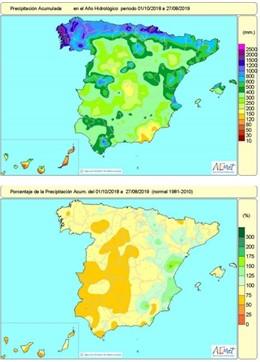 Las lluvias acumuladas en España en lo que va de año hidrológico, hasta el 29 de agosto son un 15 por ciento inferiores al valor normal