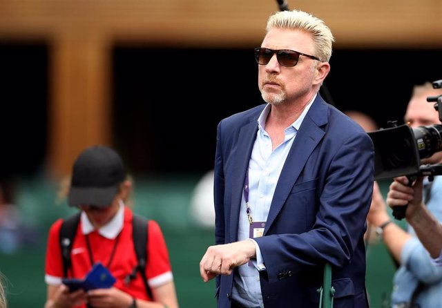 09 July 2019, England, London: German former tennis player Boris Becker watches players in action on day eight of the 2019 Wimbledon Grand Slam tennis tournament at the All England Lawn Tennis and Croquet Club. Photo: Steven Paston/PA Wire/dpa