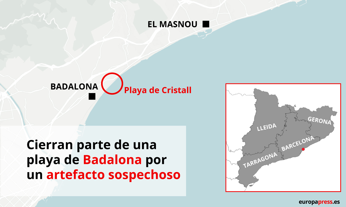 Mapa con playa de Badalona donde se ha hallado un artefacto sospechoso