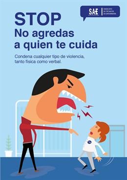 Un cartell per conscienciar sobre les agressions a professionals sanitaris.