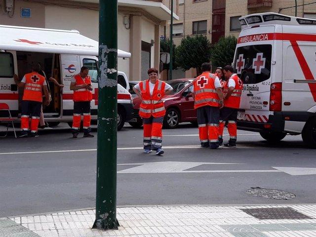 Despilegue de Cruz Roja en una calle