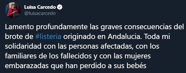 Mensaje en Twitter de la ministra de Sanidad, María Luisa Carcedo, tras conocerse tres nuevos abortos por el brote de listeriosis