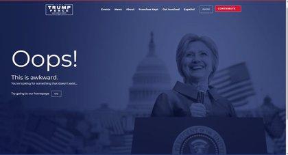 EEUU.- La web de campaña de Trump utiliza como página de error una imagen de Clinton como presidenta