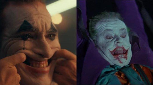 Joaquin Phoenix y Jack Nicholson interpretando a Joker
