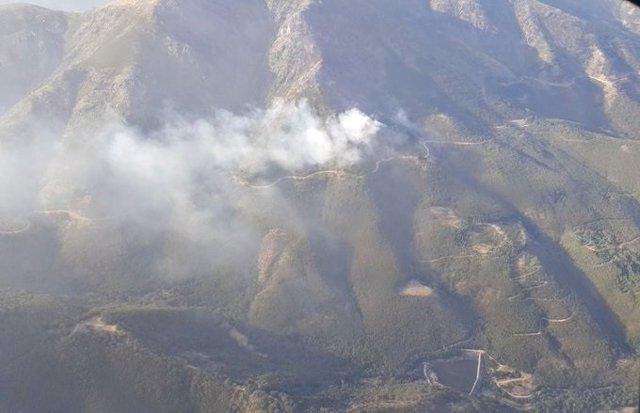 Vista aérea del incendio en Hervás