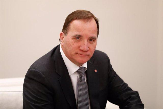 El primer ministro de Suecia Stefan Löfven en el complejo de La Moncloa.  PEDRO SANCHEZ PEREZ-CASTEJÓN;STEFAN LÖFVEN ;