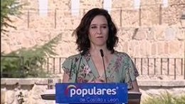 Imagen de la presidenta del la Comunidad de Madrid, Isabel Díaz Ayuso, durante un acto del PP en la provincia de Ávila.