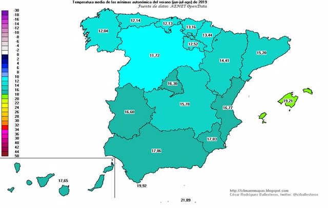 Mapa elaborado por la Aemet con las mínimas registradas en España en agosto