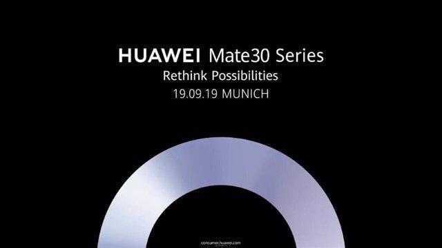Cartel del evento de presentación Huawei Mate 30