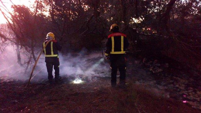 Dos bomberos trabajando en labores de extinción de un incendio en Formentera.