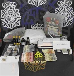 Efectos intervenidos en un club de cannabis