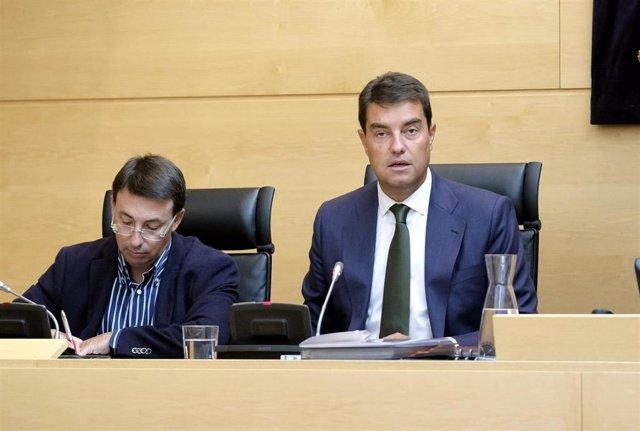 El consejero de Presidencia, Ángel Ibáñez, durante su comparecencia.