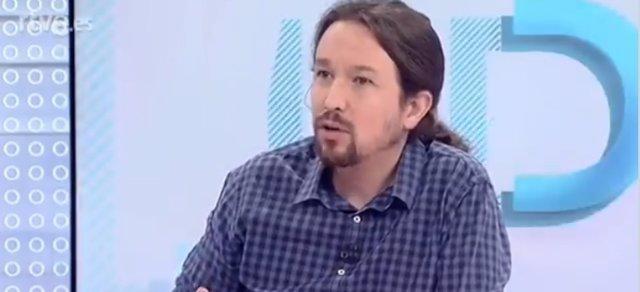Entrevista en RTVE al líder de Podem, Pablo Iglesias