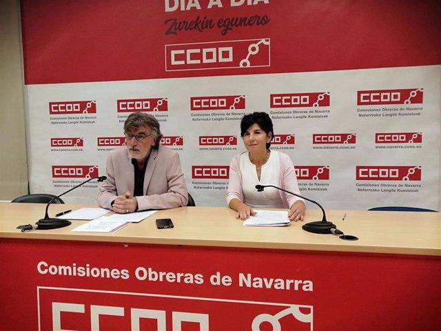 Chechu Rodríguez y Pili Ruiz, de CCOO de Navarra