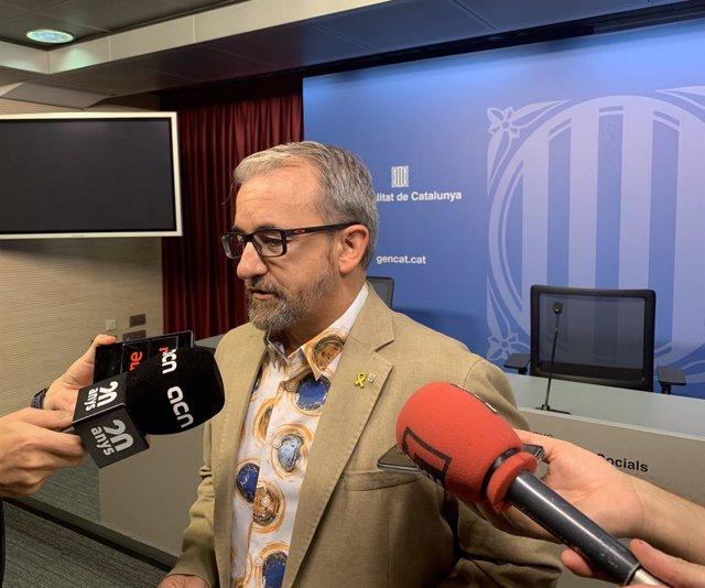 El secretari de Treball de la Generalitat, Josep Ginesta, en roda de premsa aquest dimarts.