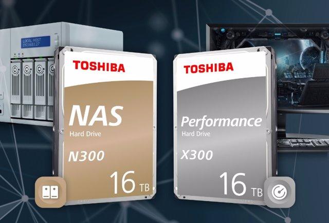 Toshiba amplía sus series de discos duros N300 y X300 con unidades de 16 TB de c