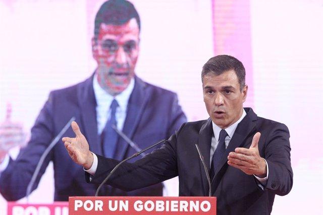 El presidente del Gobierno en funciones, Pedro Sánchez, durante su intervención en la presentación de la propuesta abierta de 'Programa común progresista'.