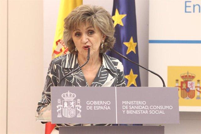 La ministra de Sanidad en funciones, María Luisa Carcedo, interviene en la inauguración de la jornada 'Reducción de daños en tabaco: mentiras, verdades y estrategias' en el Ministerio de Sanidad.