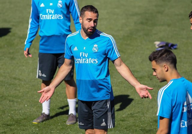 Carvajal of Real Madrid in action during training day, May 04th, in Ciudad Deportiva Real Madrid, in Valdebebas, Madrid, Spain.