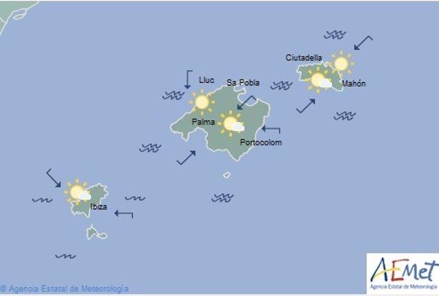 Gráfico de las Islas Baleares de la AEMET para el miércoles, 4 de septiembre