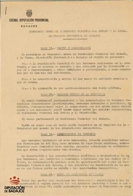 Documento histórico de la Diputación de Badajoz