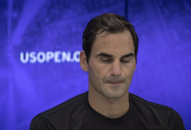 04 September 2019, US, New York: Swiss tennis player Roger Federer reacts during a press conference after losing to Bulgaria's Grigor Dimitrov in their men's singles quarter-final tennis match of the 2019 US Open Grand Slam tournament at the Arthur Ashe S