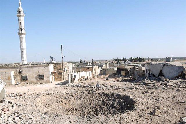Zona bombardeada en la provincia de Idlib, en el noroeste de Siria