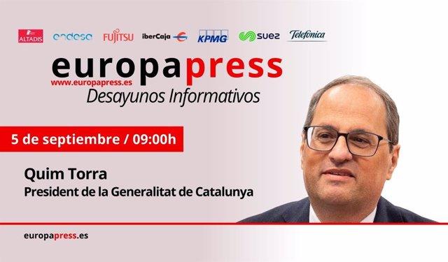 Portadilla del Desayuno Informativo de Europa Press con el presidente de la Generalitat de Cataluña, Quim Torra.