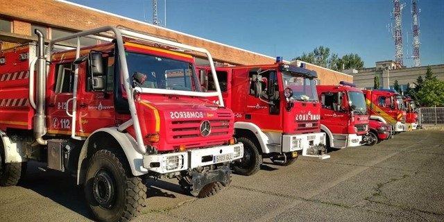 Camiones de Bomberos de Logroño aparcados en el parque